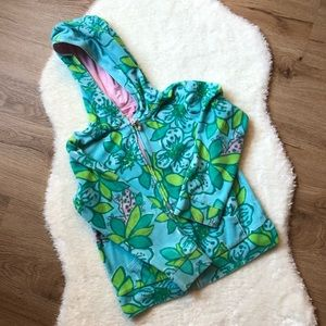 Lilly Pulitzer Zip Up Hoodie Floral/Frog Pattern